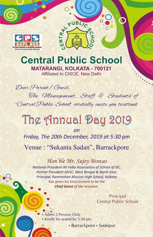 Central Public School Barrackpore Annual day invitation